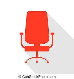 plat, style, bureau, signe., chaise, path., ombre, rouges, icône