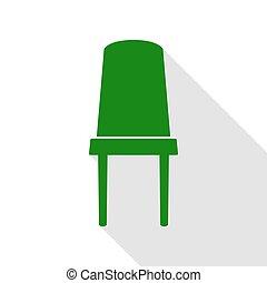 plat, style, bureau, signe., chaise verte, path., ombre, icône