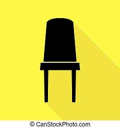 plat, style, bureau, signe., jaune, arrière-plan., noir, sentier, chaise, ombre, icône