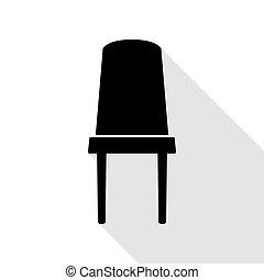 plat, style, bureau, signe., noir, chaise, path., ombre, icône