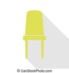 plat, style, bureau, signe., poire, chaise, path., ombre, icône