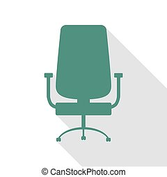 plat, style, bureau, signe., veridian, chaise, path., ombre, icône