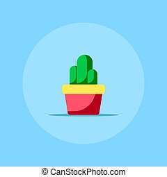 plat, style, cactus, icône