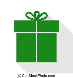 plat, style, cadeau, signe., vert, ombre, path., icône