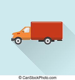 plat, style, camion, icône