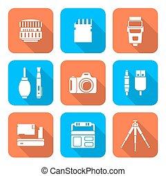plat, style, carrée, icônes, colorez photographie, numérique, blanc, outils