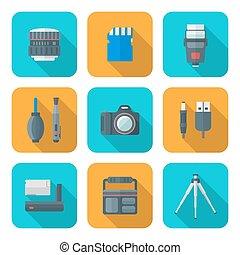 plat, style, carrée, icônes, colorez photographie, numérique, outils