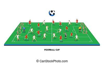 plat, style, champ football, coloré, joueurs, positions, thème, football, isométrique, illustration, sports, différent, champ, vecteur, stadium., teams., sport, jouer, soccer., 3d