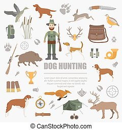 plat, style, chasse, chasse, set., equipment., icône chien