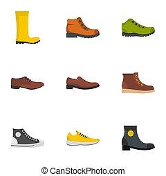 plat, style, chaussures, icônes, ensemble, paire
