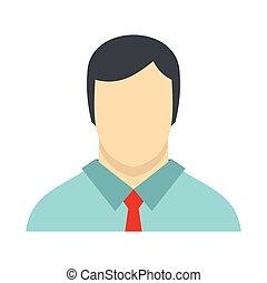 plat, style, chemise, avatar, icône, cravate, mâle