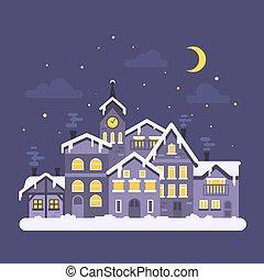 plat, style, city., hiver, illustration, vecteur, nuit, noël