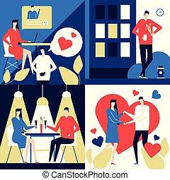 plat, style, coloré, app, -, illustration, conception, dater