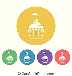plat, style, coloré, icônes, petit gâteau, vecteur, rond