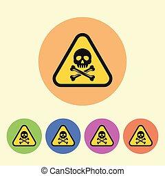 plat, style, coloré, icônes, signe, vecteur, avertissement, rond