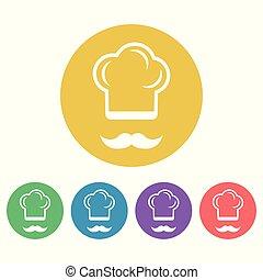 plat, style, coloré, icônes, vecteur, cuisinier, rond