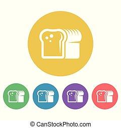 plat, style, coloré, icônes, vecteur, rond, pain