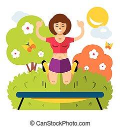 plat, style, coloré, trampoline., vecteur, girl, dessin animé, illustration.