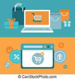 plat, style, concept, achats, vecteur, internet