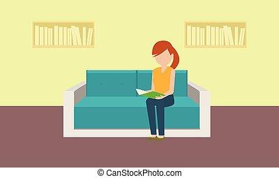 plat, style, concept, bannière, classique, sofa, femme