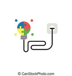 plat, style, concept, câble, lumière, puzzle, branché, incandescent, vecteur, conception, sortie, ampoule