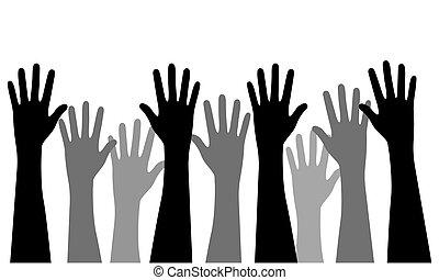 plat, style, concept, différent, illustration, multiracial, vecteur, mains ont élevé
