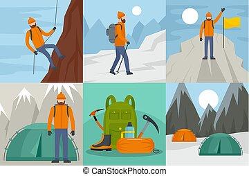 plat, style, concept, ensemble, cavalcade, alpinisme, bannière