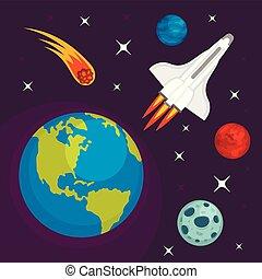 plat, style, concept, espace, planète, fond, la terre