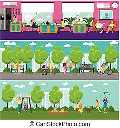 plat, style, concept, famille, banner., dépenser, gosses, gens, parc, illustration, vecteur, conception, temps, maison, home., amis