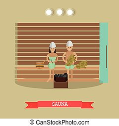 plat, style, concept, illustration, sauna, vecteur, spa, procédure