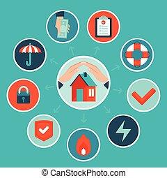 plat, style, concept, maison, vecteur, assurance