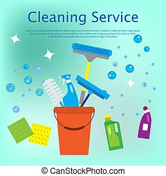 plat, style, concept, nettoyage, service
