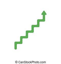 plat, style, concept, pointage, symbole, haut, vecteur, conception, flèche, ligne, escalier, blanc, icône