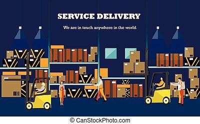 plat, style, concept, poster., service, banner., illustration, livraison, entrepôt, vecteur, conception, logistique, intérieur