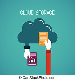 plat, style, concept, stockage, nuage
