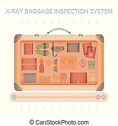 plat, style, concept, xray, bagages, vecteur, inspection
