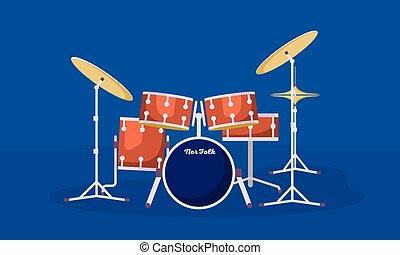 plat, style, concert, kit, tambours, bannière