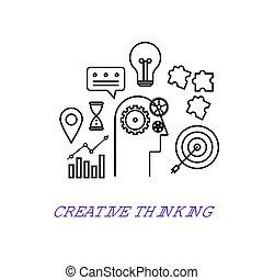 plat, style, contour, pensée, concept., moderne, créatif