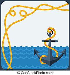 plat, style., corde, conception, nautique, ancre, carte