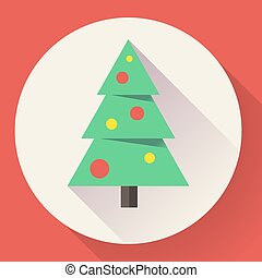 plat, style, couleur, arbre., conçu, noël, icône