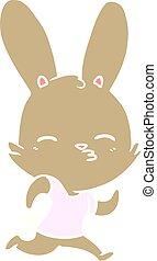 plat, style, couleur, exécuter lapin, dessin animé