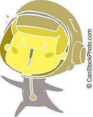 plat, style, couleur, saut, astronaute, dessin animé, heureux