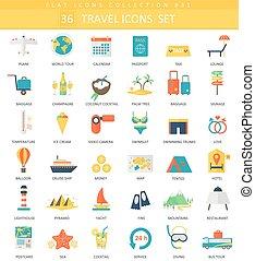 plat, style, couleur, voyage, élégant, vecteur, icône, set., design.