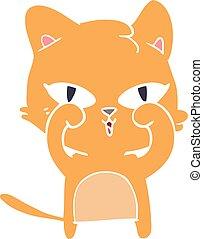 plat, style, couleur, yeux frottage, chat, dessin animé