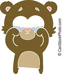 plat, style, couleur, yeux frottage, ours, pleurer, dessin animé