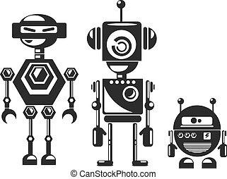 plat, style, cyborgs., conception, robots