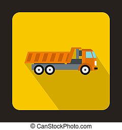 plat, style, décharge, orange, camion, icône