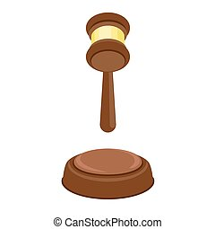 plat, style, décision, juge, icône, marteau