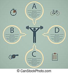 plat, style de vie, illustration, infographic, santé, conçu
