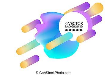 plat, style, elements., liquide, formes, résumé, illustration, marbre, plaquettes, milieux conception, 80s, géométrique, bulles, memphis, hologramme, nuage, 3d